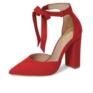 FSJ Red Suede Chunky Heel Ankle Strap Pump